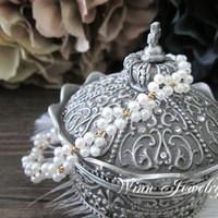 Original Design 1/20 14kt Gold Filled Natural Freshwater Pearl Hand Made Flower Bangles