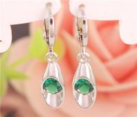 Fashion Free Shipping 1Pair sterling silver Pretty CZ Cubic Zirconia Nice Charming Womens Drop earrings