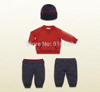 2014 new brand autumn winter children clothing boys clothes set 3pcs/set +t-shirt+pants+hat tracksuit sweatshirt tracksuit