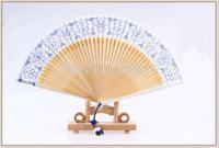 Newest Bamboo Hand Fan Silk Hand Fan Custom Hand Fan with blue-white porcelain design