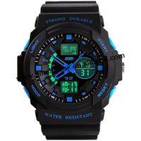50pcs/lot SKMEI Mens Sports Watch Dual Display Male 30M Waterproof Light Electronic Watch Multifunctional Military  Watches