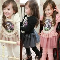 Hu sunshine wholesale New 2014 Autumn Hot Girl Dress Fashion Long Sleeve Print Girl Long Sleeve Kids Cotton Lace Dress