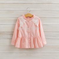 2014 Girls autumn pure cotton lace shirts , kids lace floral shirt , 5pcs/lot   LXJ36