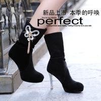 Small wholesale 2014 European and American fashion sparkling diamond tassel stiletto boots sub- quality matte female boots