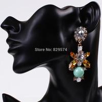 [Free Style] New Fashion Luxury Crystal Flower Dangle Earrings Korea Shourouk Elegant Drop Earrings For Women Wholesale Jewelry
