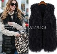 Free Shipping Womens Warm Faux Fur Splicing Fringed Long Vest Fur Waistcoat Jacket [3 70-6216]
