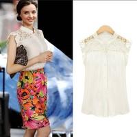Women Lace Chiffon Sleeveless Lace Shoulder Splice Shirt Vest Chiffon Tops womens blouse free shipping