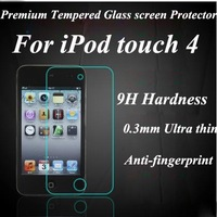 Brand New For ipod touch 4 ultra thin premium tempered glass screen protector film,retail packing,free ship
