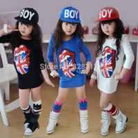 2014 Rushed New Brand Autumn /winter Childrens Clothing Girls Big Tongue Cartoon Sequin Dress Long-sleeve Kids Clothes Princess