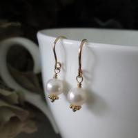 WINN Freshwater Pearl Earrings 14k Gold Filled 5-6mm White Natural Pearl Drop Earrings Brand Fashion Jewelry for Women