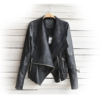 New Arrival 2014 Women Leather Jacket Slim Motorcycle Jacket Long Sleeve Zipper Jacket Coat Outwear Punk Coat B12 SV006135