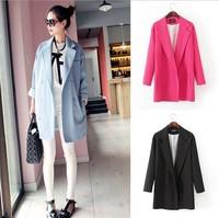 M-3XL size blazer women 2014 new fashion double breasted women blaser loose medium long plus size blazer for women free shipping