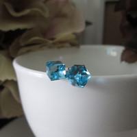 Custom Made Blue Austria Crystal 925 Sterling Silver Stud Earrings