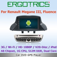 Android 4.0 3G Wifi Car DVD Stereo GPS Headunit For RENAULT Megane 3 Fluence with Radio RDS IPOD Bluetooth Virtual Disc HD 1080P