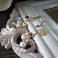 Original Design Gold Plating Branches Natural Freshwater Pearl Drop Earrings