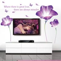 Free Shipping Purple Morning Glory Wall Stickers  Sofa Backdrop