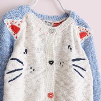 Sun fashion female child j - cartoon embroidery cat blue knitted sweater cardigan