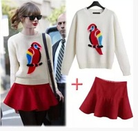 2014 European Fashion New Arrival Stylish Print O Neck Long Sleeve Sweater In Autumn And Winter Women's Sweet Causal Clothing