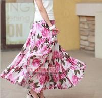 spring summer long maxi skirt women's flower print long cotton skirt floor-length ultra long skirt elastic waist 12 meters skirt
