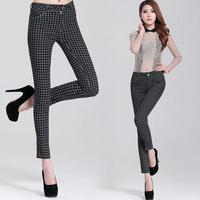 OVO!2014 new korean style Fashion plaid pants slim show thin joker foot trousers women pencil pants F.KZ.W.056