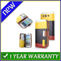 New Flip Synthetic Leather Wallet Pouch with Lanyard Case Cover for Samsung Galaxy S3 i9300(Yellow & Black & Red)