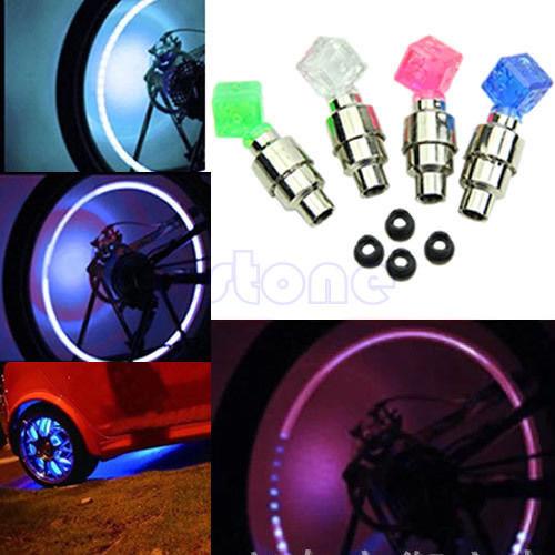 U119 Free Shipping 2 pcs Dice LED Light Bicycle Bike Car Motor Wheel Valve Stem Cap tire Neon Bulb(China (Mainland))