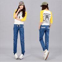 HJ-53 women Korean style Harem jeans Elastic waist feminino desigual jeans for women Designer jeans denim Women's jeans
