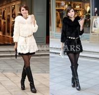 Free Shipping Womens Faux Fur Long Sleeve Coat Outwears Jacket without belt [3 70-6218]