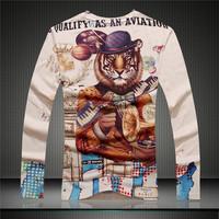 Free shipping GSYF0044 2014 Fall new men's shirt full sleeve t-shirt ,perfect tiger print  shirt slim shirt for men