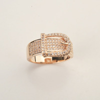 Free Shipping Fashion Jewelry Great Shine Zirconia Gold Plated Cramp Rings For Women Party Accessories 16 16.5