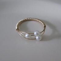 WINN Natural Freshwater Pearl Ring Original Design 1/20 14kt Gold Filled Three Balls Rings for Women weekend deals