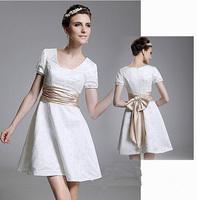 Fashion New Sweet Bow Lace Short evening dress 2014 beige vestido de festa prom dresses celebrity dresses evening dresses E87