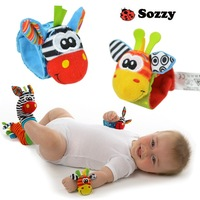 Free shipping Sozzy New Style Baby Educational Toys Garden Bug Wrist Rattle and Foot Socks 2 pcs waist+2 pcs socks Drop Shipping