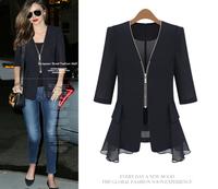 2014 autumn fashion women's V-neck zipper-up medium-long chiffon shirt three quarter sleeve chiffon shirt