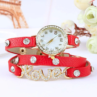500pcs/lot New Arrivals women vintage leather strap watches,set auger LOVE rivet bracelet women dress watches,women wristwatches