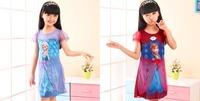 2014 New Summer Children's Clothing Girl Frozen Queen Elsa Princess Anna Fancy Dress Costume Gown One Piece Dress Cosplay 3-8T