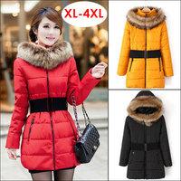 XL-4XL 2014 Winter Fur Hooded Collar Down Jacket Coat Women Fashion Clothing Long Style Zipper Plus Size Slim Parkas Outerwear