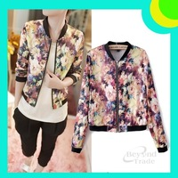New 2014 Spring Fashion Coat Stand Collar Long Sleeve Zipper Floral Printed Women Streetwear Style Short Jacket Outerwear S M,L