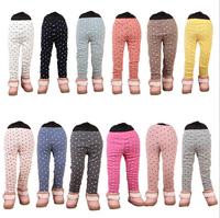 13 Colors Retail 1 pcs Autumn Winter 2014 Children Girls Bow Elastic Candy Color Love Cotton Leggings Kids Pants AB0202