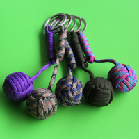 5pcs/lot, Tactical Para Cord Monkey Fist, Knife Lanyard, Chrome Steel Ball Keychain, free shipping