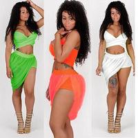 Women Summer Dress 2014 New Sexy Bandage Dress Strapless Skorts Novelty Dresses Black,White,Green ,Orange Beach Dress