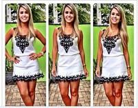 Women summer dress 2014 new vestidos casual dress Crochet Chiffon Dress mj