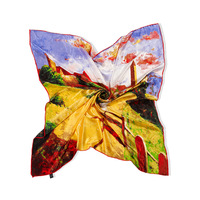 Hot sale Pastoral hijab cachecol Oil painting Quiet town scarf women 100% mulberry square silk scarves bandana 108*108cm