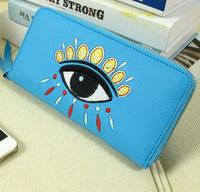 hotsale personality wholesale new genuine leather women wallets ,fashion cowhide evil eye embroidery  long purses 810