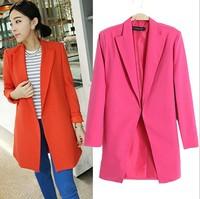 M-3XL size blazer women 2014 new fashion candy color women long blazer loose plus size blaser female coat free shipping