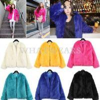 Free Shipping Fashion Womens Warm Short Faux Fur Outwear Long Sleeve Jacket 5 Colors [3.5 70-6219]