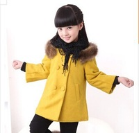 Children Girls Wool Coat 2014 New Girls Winter Wool & Blends Coat Double-breasted Fur Collar Send Scarf Thicken Outerwear Jacket
