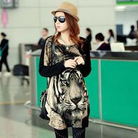 2014 Autumn Winter New Fashion Casual Lady Loose Long T Shirts Bat Shirt Tops Pullover Tiger Pattern Women Long T Shirt Dress