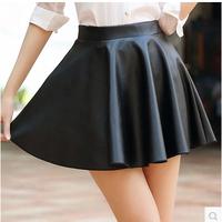 2014 New Fashion Autumn Women's PU Skirts A-line zipper Female Short Skirts