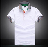New arrive 2014 Summer Men Fashionable  t shirt Brand Cotton Business Casual tshirts white green black gray Free shipping